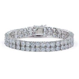 10mm 18K White Gold Finish Double Row Tennis Bracelet