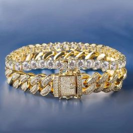 18K Gold 12mm Iced Cuban and 5mm Tennis Bracelet Set
