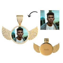 Iced Custom AngeL Wings Photo Pendant in Gold