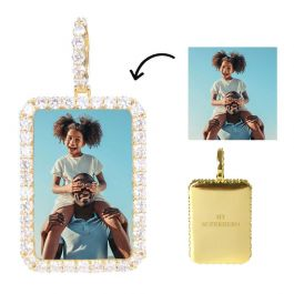 Iced Custom Rectangle Photo Pendant in Gold