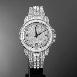 18K White Gold Finish Iced Watch
