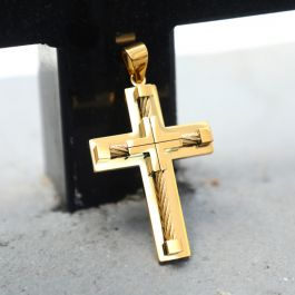 18K Gold Stainless Steel Cross Pendant