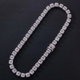 10mm 18K White Gold Finish Iced Baguette Necklace