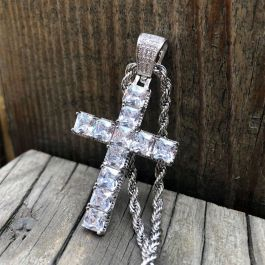 Iced Princess Cut Cross Pendant in White Gold