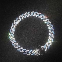 8mm Iced Blue&White Two-tone Cuban Bracelet