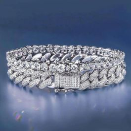 18K White Gold 12mm Iced Cuban and 5mm Tennis Bracelet Set