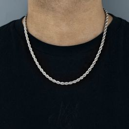 5mm 18K White Gold Rope Chain
