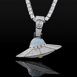 Iced UFO Pendant in White Gold