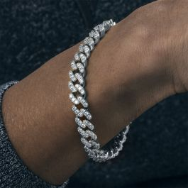 Iced 8mm Cuban Link Bracelet in White Gold
