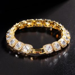 10mm Iced Baguette Tennis Bracelet in Gold