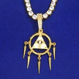 Egyptian Pyramid Eye of Horus Pendant in Gold