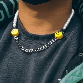 Smile Face Pearl and Steel Cuban Chain Necklace