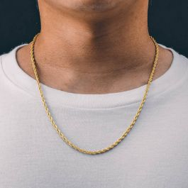 3mm Rope Solid 925 Sterling Silver Chain in Gold
