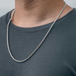 3mm Round Box Solid 925 Sterling Silver Chain