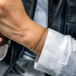 3mm Rope Solid 925 Sterling Silver Bracelet in Gold