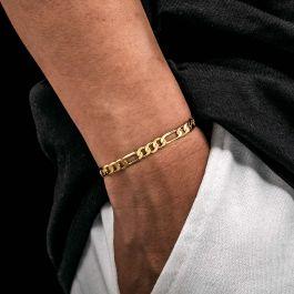 5mm Figaro Solid 925 Sterling Silver Bracelet in Gold