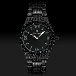 Iced Luminous Roman Numerals Men's Watch in Black Gold