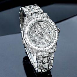Iced Baguette Cut Roman Numerals Men's Watch in White Gold