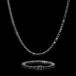 5mm Black Stones 18K Black Gold Tennis Chain and Bracelet Set