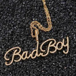 Custom Crystal Name Pendant in Gold