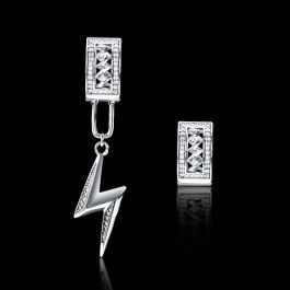 Iced Detachable Lightning Asymmetric Earrings