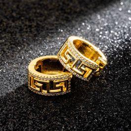 Iced Greek Key Hoop Earrings