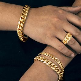 Iced Cuban Ring and Cuban Bracelet Set in Gold