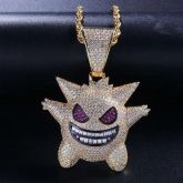 Iced Gengar Pendant in 18K Gold
