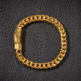 "8mm 8"" 18K Gold Finish Franco Bracelet"