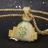 Iced Money Bag Stack Pendant in Gold