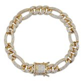 10mm 18K Gold Finish Iced Figaro Bracelet