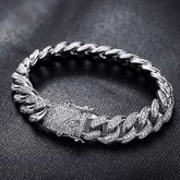 13mm 18K White Gold Finish Iced Cuban Bracelet