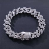 14mm 18K White Gold Finish Iced Miami Cuban Bracelet