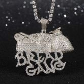 Iced Bread Gang Pendant in White Gold
