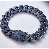 12mm 18K Gold Finish Blue Iced Cuban Link Bracelet