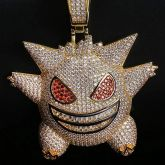 Big Iced Gengar Pendant in Gold Free Engraving