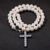8mm Men Pearl Necklace Cross Pendant