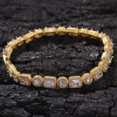 """8mm 8"""" Round and Baguette Cut Bracelet in 18K Gold"""