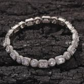 """8mm 8"""" Round and Baguette Cut Bracelet in 18K White Gold"""