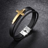 Men's Leather WristBand Bracelet with Engraved Steel Cross