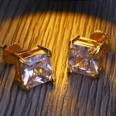 Radiant Cut Stud Earring in Gold