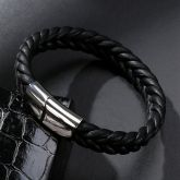 Men's Black Braid Leather Bracelet with Steel Magnetic Clasp