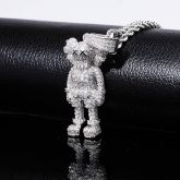 Iced Cartoon Doll Pendant in White Gold