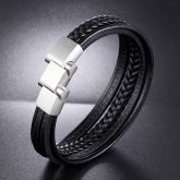 Men's Layered Leather Braid Bracelet With Adjustable Steel Clasp