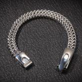 10mm Double Rows Franco Bracelet in White Gold
