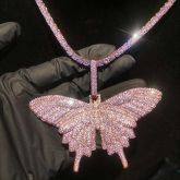 """Pink Butterfly Pendant with 4mm 20"""" Tennis Chain Set"""