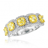 3.2 Ct Fancy Yellow Cushion Cut Halo Band