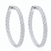 Large Double Row Pave Hoop Earrings