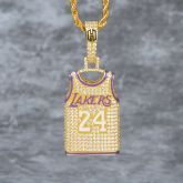Iced Lakers 24 Jersey Pendant in Gold