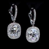 Cushion Cut Halo Dangle Earrings